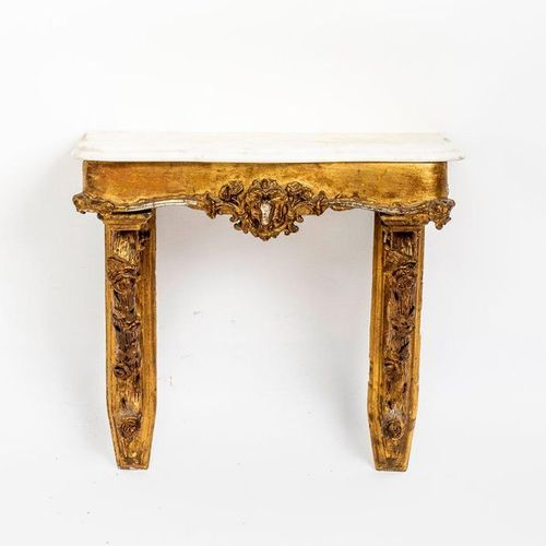 Hängekonsole mit Wandspiegel Wood and stucco, gilded. (missing parts). Console w…