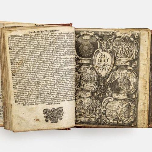 Biblia Germanica 2 parts in 1 vol. Schleusingen, Sebastian Göbel, 1696. 36 unpag…