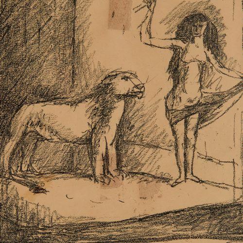 René Victor Auberjonois (1872 1957)  Femme et fauve, fusain sur papier, signé, 2…