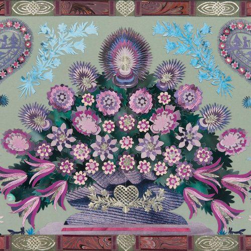 Anne Rosat (1935)  Découpage à motif d'un bouquet de fleurs, signé et daté 1985,…