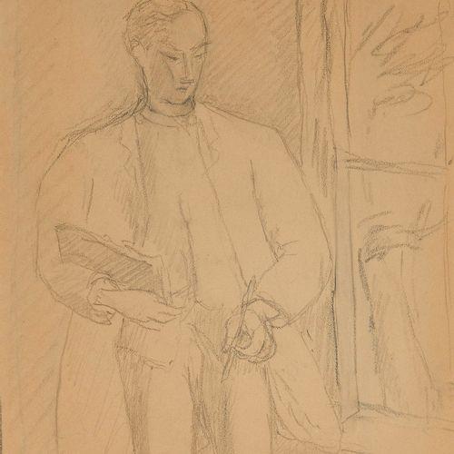 René Auberjonois (1872 1957)  Autoportrait dans l'atelier, crayon sur papier, mo…