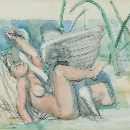 Maurice Barraud (1889 1954)  Léda et le cygne, aquarelle sur papier, 51x70 cm