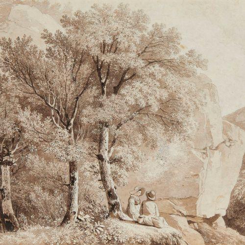 Adam Wolfgang Töpffer (1766 1847)  Paysage campagnard avec un couple assis, cray…