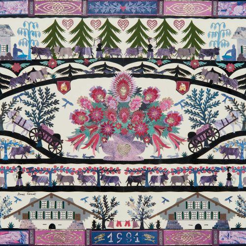 Anne Rosat (1935)  Découpage à motif d'un bouquet de fleurs et d'une montée à l'…