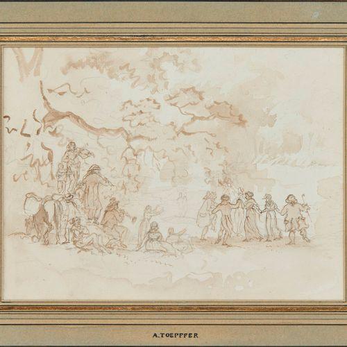 Adam Wolfgang Töpffer (1766 1847)  Bal de campagne, plume et lavis, 17,5x23,5 cm