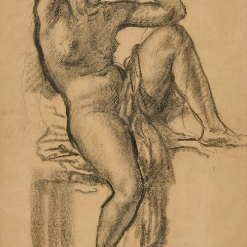 Charles L'Eplattenier (1874 1946)  Nu féminin assis, fusain sur papier, signé et…