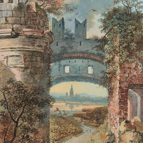 Balthasar Anton Dunker (1746 1807)  Paysage aux rives animées, gouache sur papie…