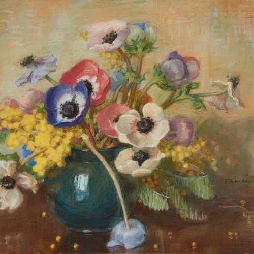 Aimée Rapin (1869 1956)  Bouquet d'anémones, pastel sur papier, signé, 40x50 cm