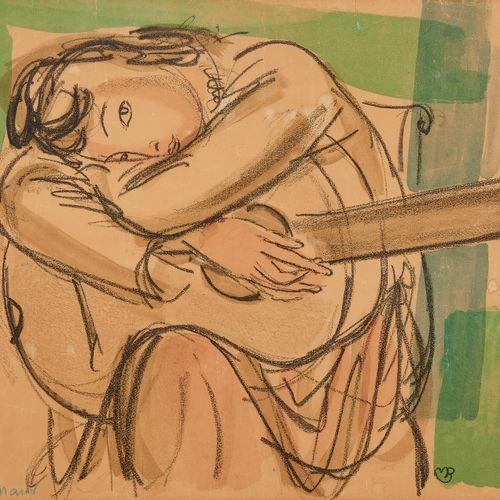 Maurice Barraud (1889 1954)  Femme à la guitare, aquarelle sur papier, signée et…