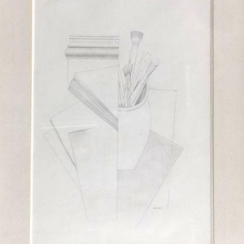 Gustave Buchet (1888 1963)  Nature morte cubiste au pinceau, mine de plomb sur p…