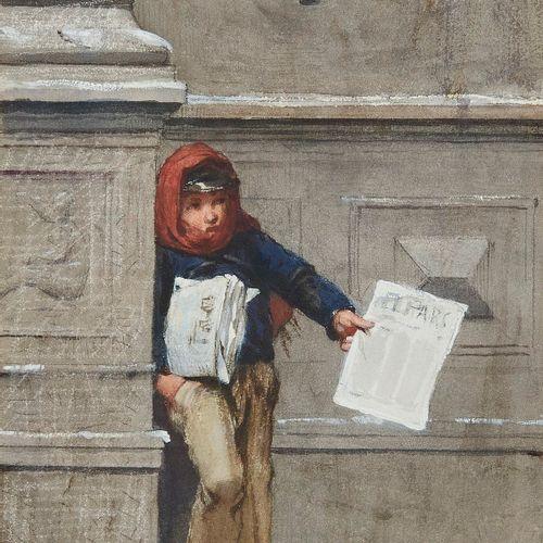 Edouard Ravel (1847 1920)  Vendeur de journaux, aquarelle et gouache sur papier,…