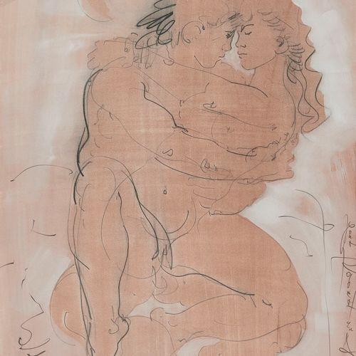 Hans Erni (1909 2015)  Couple enlacé, encre et gouache sur papier, signé, 50x32 …