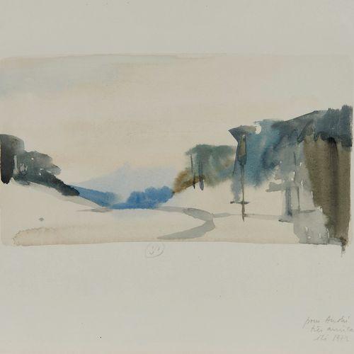 Gérard de Palézieux (1919 2012)  Le Bois de Finges, aquarelle sur papier, monogr…