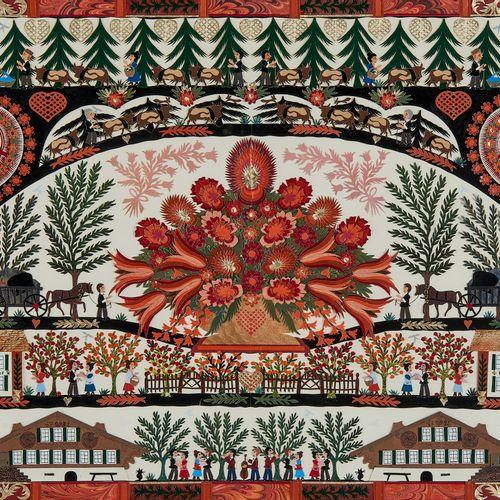 Anne Rosat (1935)  Bouquet de fleurs et chalets, découpage, signé et daté 32x51 …