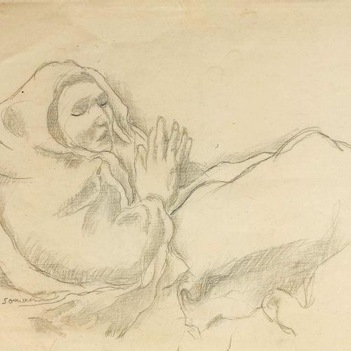 Charles Clos Olsommer (1883 1966)  Femme en prière, crayon sur papier, signé, 26…