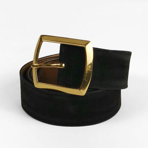 Hermès, ceinture  Daim gris foncé, intérieur en cuir naturel, boucle en métal do…