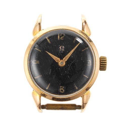 Omega, montre ronde mécanique sans bracelet  Cadran noir, aiguilles dorées, chif…