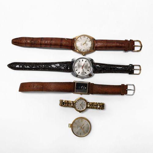 Lot de quatre montres et une montre de poche vintage signées Maurice Lacroix, Al…