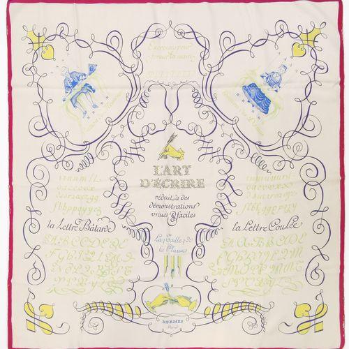 """Hermès, lot de deux foulards  L'un """"L'Art d'écrire"""" et le deuxième à décor de fe…"""