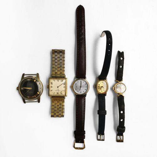 Lot de cinq montres signées Favre Leuba, Certina, Allaine, et Cronel  Métal et m…