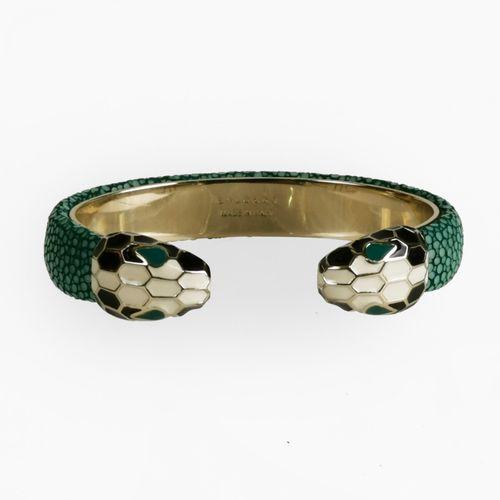 Bulgari, Serpenti, bracelet orné de deux têtes de serpents affrontés  Métal et g…