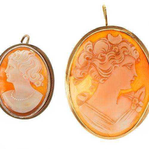 Camée sur coquillage à portrait de jeune fille  Monture en or 750, H 4,5 cm, poi…