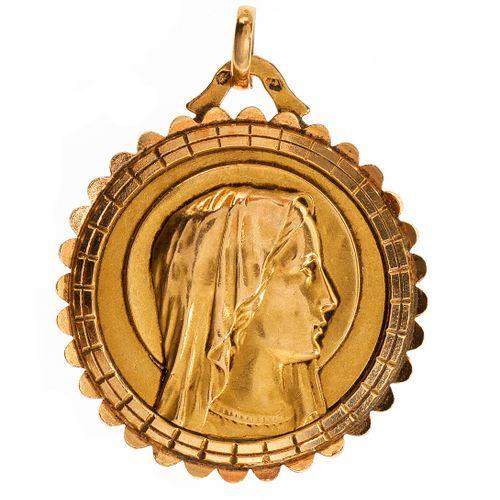 Médaille de baptême à l'image de la Vierge  Travail français, or 750, D 2 cm