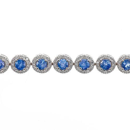 *Bracelet serti de tanzanites taille brillant entourées de pierres d'imitation p…