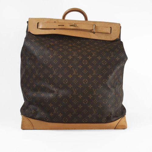 Louis Vuitton, Steamer, grand sac de voyage  Toile cirée monogrammée et cuir nat…
