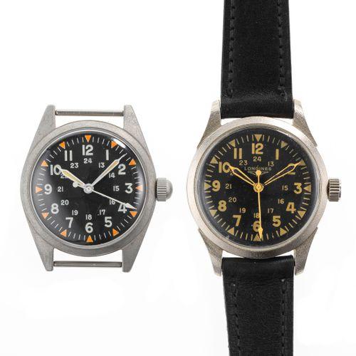 Deux montres militaires USA dont une signée Longines  Cadrans noirs, aiguilles e…