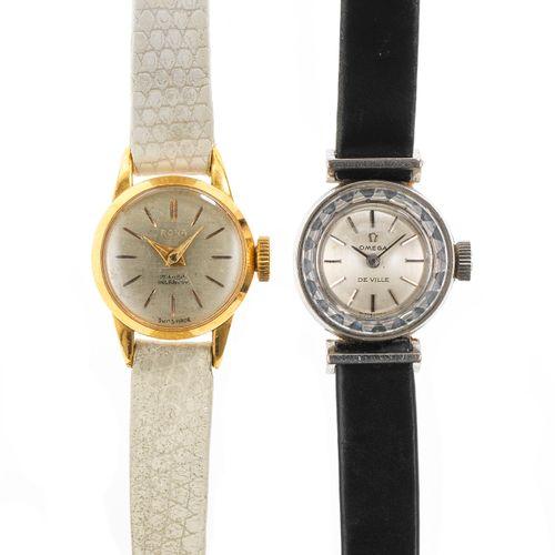 Omega, montre ronde mécanique  Cadran gris, aiguilles et index bâtons noirs, or …