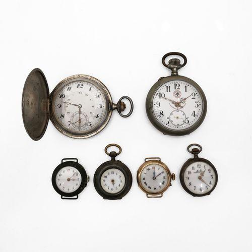 Lot de six montres de poche, l'une avec sa chaîne de montre  Argent et métal dor…