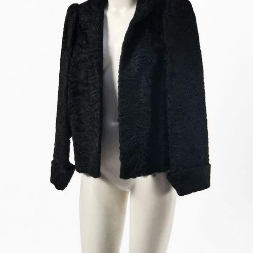 Femina fourrures, veste  Astrakan noir, poche intérieure