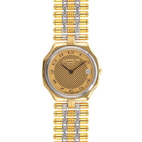 Christian Dior, montre bracelet octogonale à quartz  Cadran doré à points, aigui…