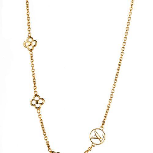 Louis Vuitton, collier fantaisie à maille forçat et à motif de fleurs ajourées  …