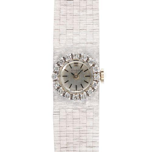 Tissot, montre bracelet ronde mécanique sertie de diamants (env. 0,3 ct)  Cadran…