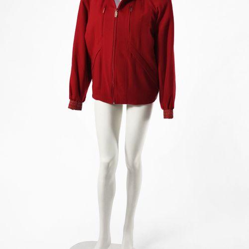 Zilly, blouson  Cachemir et cuir rouge, intérieur en soie imprimée, fermeture Ec…