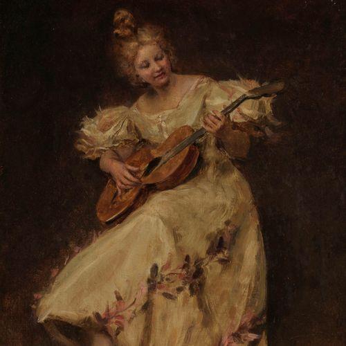 Frédéric Soulacroix (1858 1933)  Dame jouant de la guitare, huile sur toile, sig…