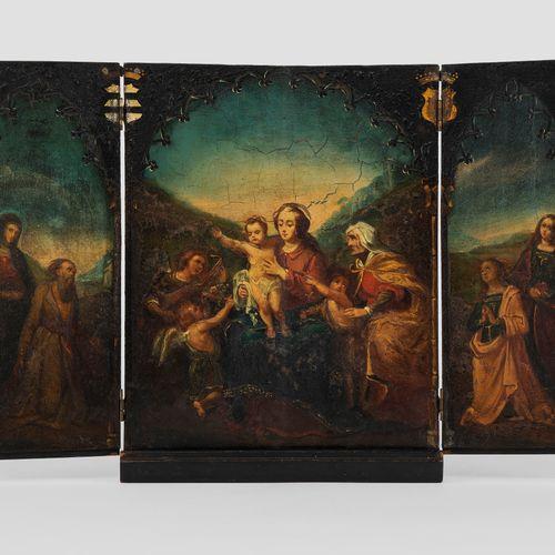 Dans le style de l'école siennoise du XVIIe s  Triptyque de voyage, au centre la…