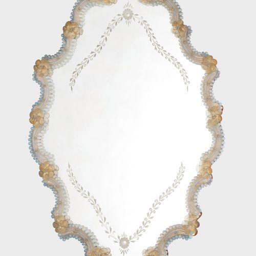 Miroir vénitien, XXe s  Verre, H 82 cm