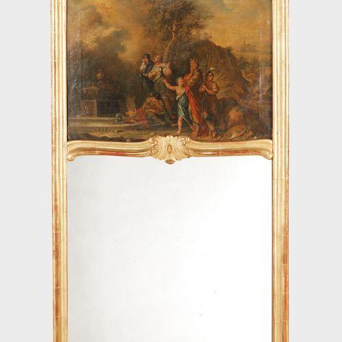 Trumeau, Berne XVIIIe s  Orné d'une huile sur toile figurant une scène à l'antiq…