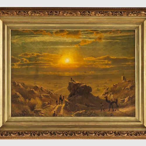 James Fairman (1826 1904)  Coucher de soleil, huile sur toile, 81x114 cm