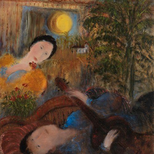 *Olga Sacharoff (1889 1967)  La sérénade, huile sur pavatex, signée, 69x59 cm.  …
