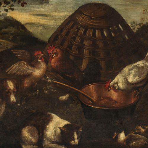 Leandro Bassano (1567 1622)  Basse cour avec chien, poules, huile sur toile, 75x…