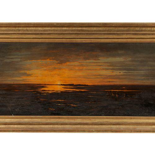 Adolphe Potter (1835 1911)  Coucher de soleil en Camargue, huile sur toile, sign…