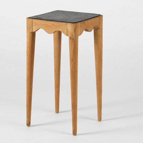 Table d'appoint  Chêne cérusé blanc et ardoise, 67x35x35 cm
