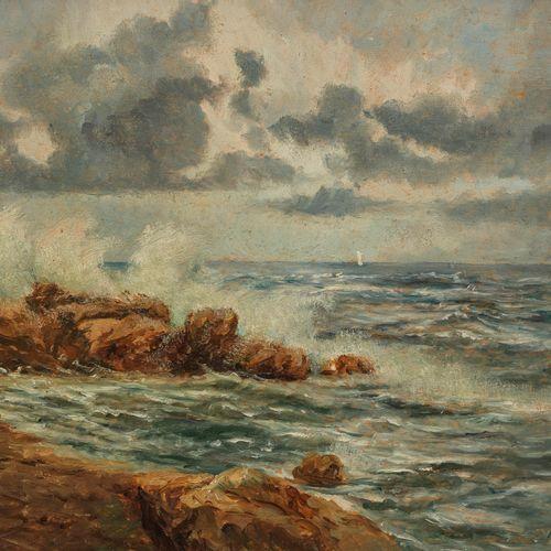 Ecole XIXe s  Embruns sur les rochers, huile sur panneau, signée, 22x34 cm