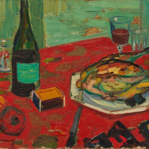 Roger Limouse (1894 1989)  Nature morte à la nappe rouge, huile sur toile, 50x65…