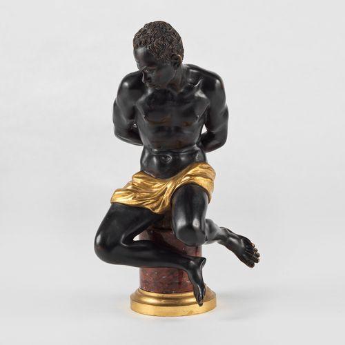 Statuette de Numide, XIXe s  Bronze patiné et bronze doré, H 41 cm