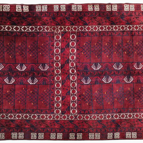 Tapis, Ersari hatchlou, Afghanistan, milieu XXe s  Laine à décor d'un champ cent…